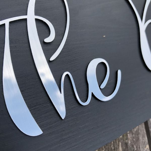 3D Brushed Steel Look Solid Wood Sign ** PERSONALISED **